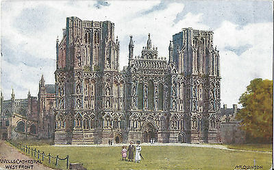 WELLS CATHEDRAL WEST FRONT - Artist A.R. Quinton - J Salmon Card 1588 - Unposted