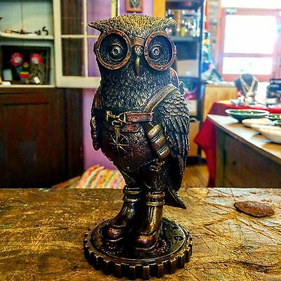 Steampunk Owl with Jetpack Statue On Gears Sculpture Figurine- SHIPS IMMEDIATELY