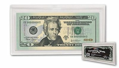 Lot Of 5 Bcw Regular Bill Currency Slab 2 Piece Snap Holder ,Acrylic  Clear Case