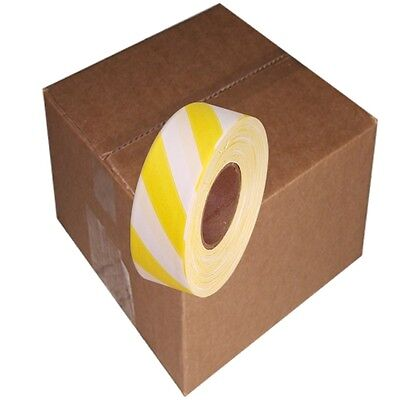 White / Yellow Safety Stripe 12 Rolls Flagging Tape 1 3/16 in x 300 ft