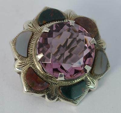 Beautiful Scottish Silver Amethyst and Agate Jewellery Brooch