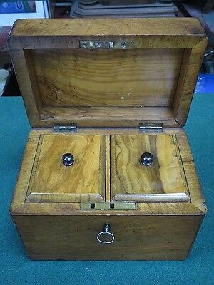 Antique Victorian Two Section Vintage Rosewood Tea Caddy With Locks