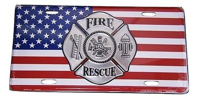 """Fire Rescue American Flag Firefighter 6""""x12"""" Aluminum License Plate Tag Made USA"""