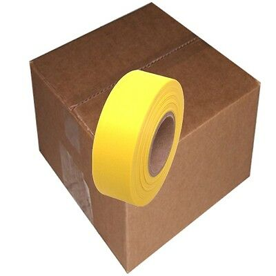 Yellow 12 Rolls Flagging Marking Tape 1 3/16 in x 300 ft Non-Adhesive