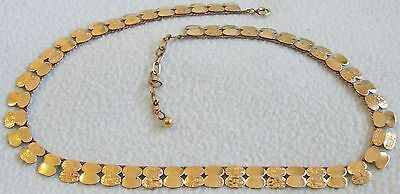 Vintage 1960s Retro ROLLED GOLD Abstract Design NECKLACE - Signed Americ