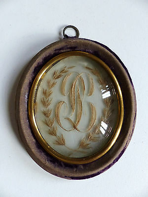 ANTIQUE FRENCH SENTIMENTAL MOURNING HAIR ART c.1859 .