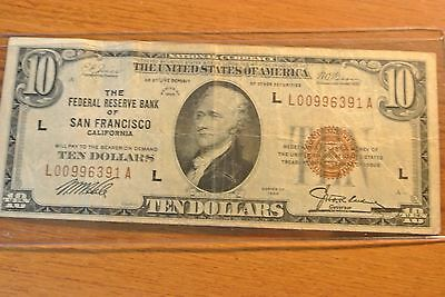 1929 $10 National Currency Note - San Francisco CA Federal Reserve Bank -