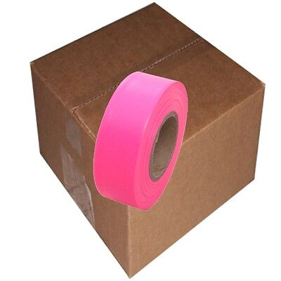 Fluorescent Pink 12 Rolls Flagging Marking Tape 1 3/16 in x 150 ft Non-Adhesive