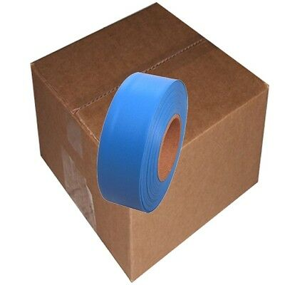 Fluorescent Blue 12 Rolls Flagging Marking Tape 1 3/16 in x 150 ft Non-Adhesive