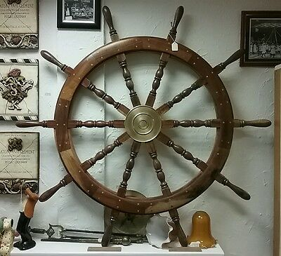 Large Full Size Wood and Brass Ships Helm / Wheel - Pegged