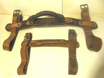 2 Antique Steamer Trunk Luggage Box Straps With Handles.