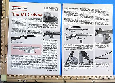 1961 THE M1 CARBINE caliber 30 short military rifle 5-Page MAGAZINE ARTICLE 8542