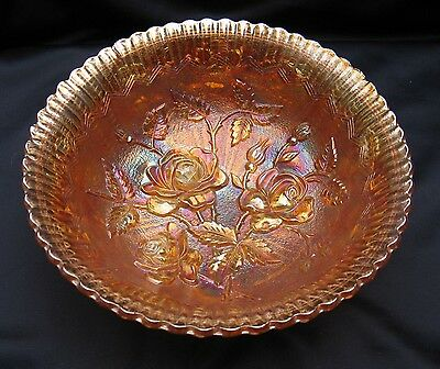 Vintage Carnival Glass Imperial Marigold Open Rose 3 Scroll Feet 7 Inch Bowl