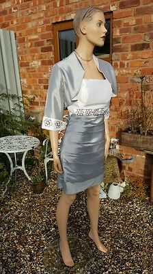 Ladies Girls 2 Piece Dress Suit Silver Grey White Ivory Mother of the Bride 10