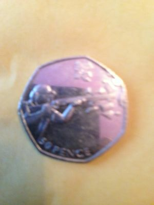 OLYMPIC SHOOTING 50p coin circulated but in good condition