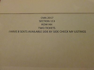 2 Tickets 2017 CMA Music Festival 4 Day Nashville JUNE 8-11, SECT. 113, ROW HH