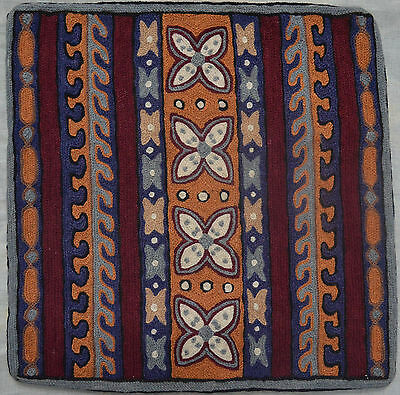 """VINTAGE TURKISH CUSHION COVER 16""""X16"""" handknotted 100%  Wool T-114"""