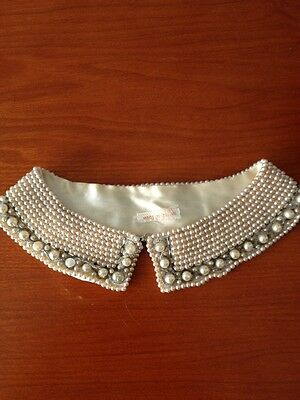 Vintage Faux Pearl Peter Pan Collar Bib Necklace Made In Japan Ivory