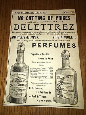 Delettrez French Perfumes 1892 Ad Early Label Bottles
