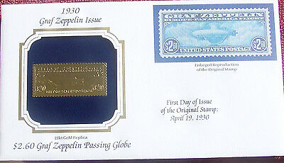 22K Gold $2.60 Graf Zeppelin Globe  First Day  Issue Cover The Original Stamp