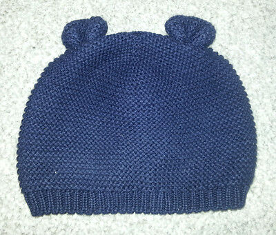 Excellent condition Baby Gap navy blue knitted hat with ears 3-6 months