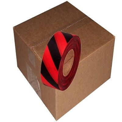 Red / Black Safety Stripe 12 Rolls Flagging Tape 1 3/16 in x 300 ft