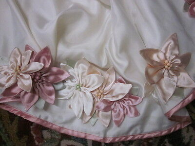 Martha Stewart Pink Ivory Satin Poinsettia Quilted Reversible Christmas Skirt