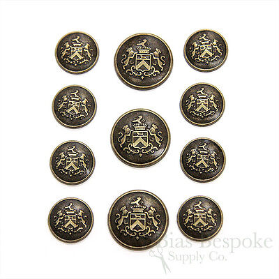 Sets of Antique Brass Coat of Arms Buttons, Made in Italy
