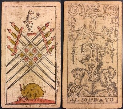 c1750 Authentic Eight • Swords Italy Piacenza Tarot Playing Cards Fortuna Single