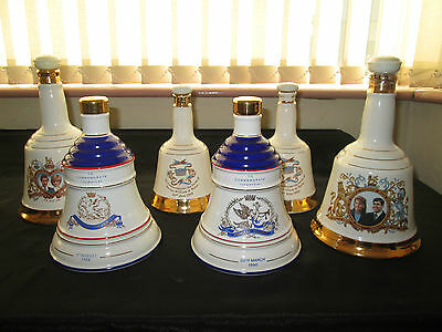 Lot 6 Vintage Wade Whisky Bell Decanter Royalty Diana Eugenie Beatrice William
