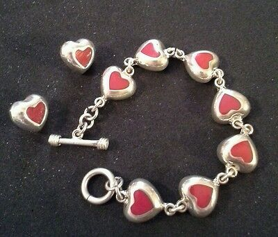 Mexico 925 Sterling Silver Heart Shaped Bracelet with Matching Pierced Earrings