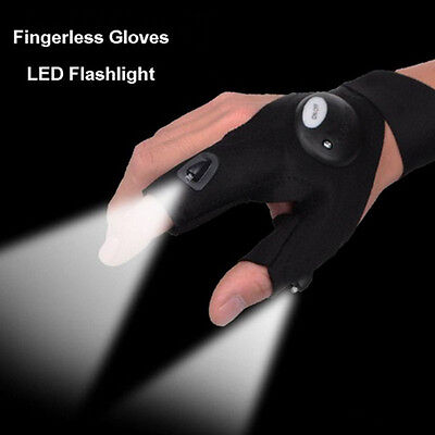 Magic Strap Fingerless Glove Hands Free With LED Flashlights Thump Camp Hiking