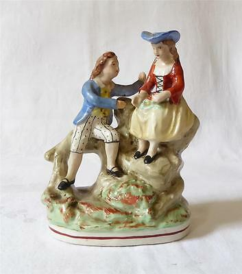 MID 19TH C STAFFORDSHIRE FIGURE GROUP OF TWO CHILDREN PLAYING c1850