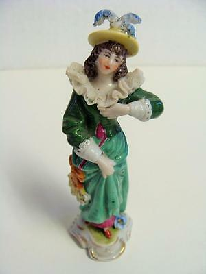 Dresden Lace Signed Porcelain Miniature Figurine Ruffled Lace Collar