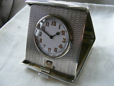 SOLID SILVER HEAVY CASED ANTIQUE DESK CLOCK c 1915-1920s STUNNINGLY ORNATE