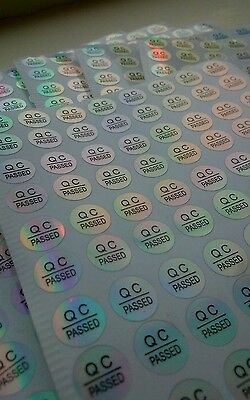 300x Quality control stickers, 10mm diameter QC PASSED hologram