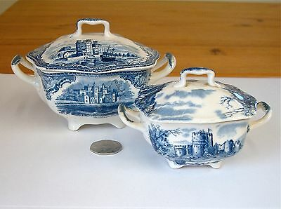 2 Antique Blue & White Transfer Ware Model Sized China Tureens