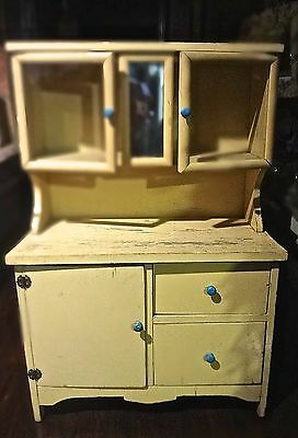 Vintage Child Size Step Back Wood Cupboard Cabinet Hutch Glass Doors Drawers