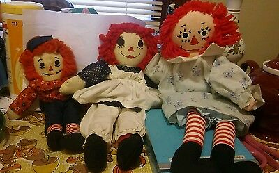 Vintage handmade Raggedy Anns and Andy