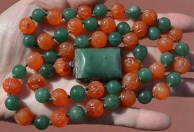 Old Chinese Chrysoprase Agate Carnelian Carved Bead Silver Necklace NOT JADE
