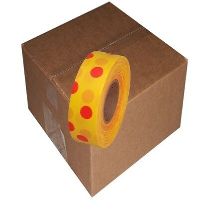 Yellow / Red 12 Rolls Flagging Polka Dot Tape 1 3/16 in x 300 ft Non-Adhesive
