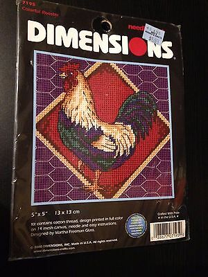 Dimensions Needlepoint Kit 7195 Colorful Rooster Martha Freeman Glass 5 by 5