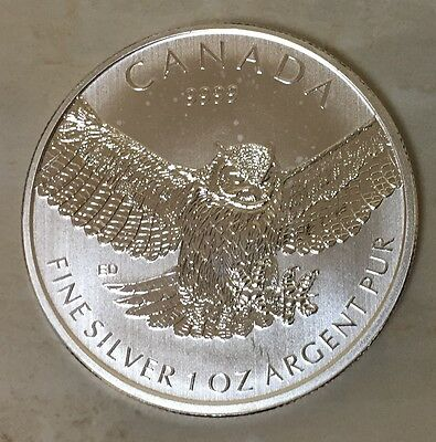2015 Canada $5 1 oz .9999 Fine Silver Birds of Prey Series Great Horned Owl Coin