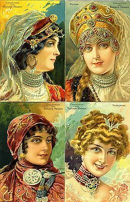 FRENCH PERNOT BISCUITS ADVERT POSTCARDS c1910 ~ 4 x GLAMOUR PORTRAITS by TAMAGNO