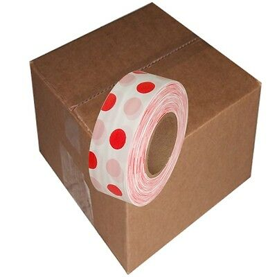 White / Red 12 Rolls Flagging Polka Dot Tape 1 3/16 in x 300 ft Non-Adhesive