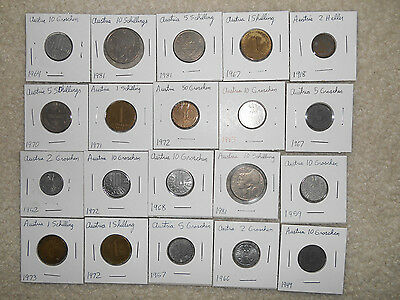 20 coins from Austria