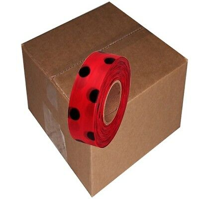 Red / Black 12 Rolls Flagging Polka Dot Tape 1 3/16 in x 300 ft Non-Adhesive