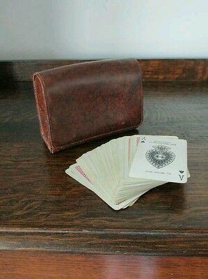 Vintage Real Leather Faux Leather Brown Bridge Playing Card Case Waddingtons Set