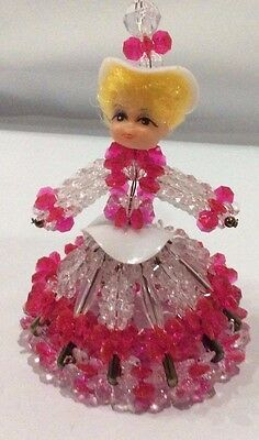 Vintage Handmade Safety Pin Doll Made of Red and clear Plastic Beads