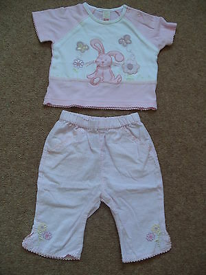Baby girls pink gingham trouser and bunny T-shirt set. Age 3-6 months